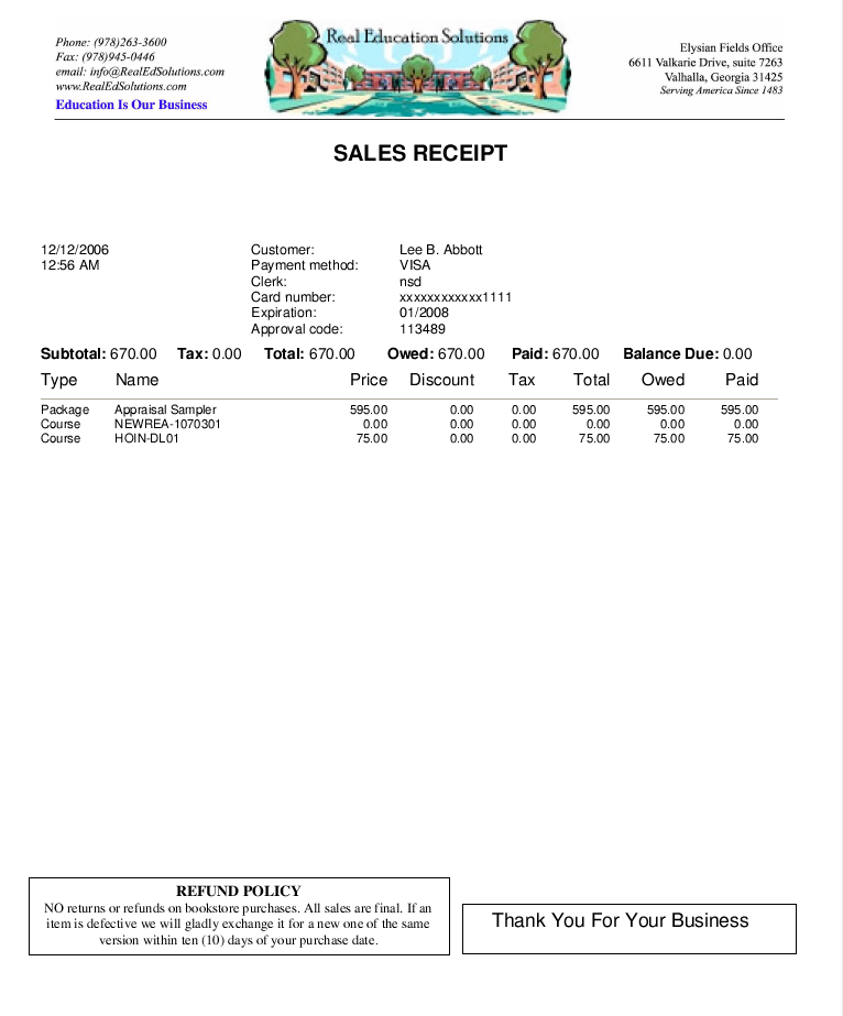 Sample student receipt